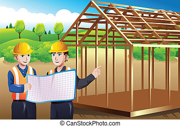Construction worker discussing blueprint - A vector...