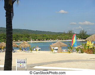 Beautiful playa landscape in Runaway Bay, Jamaica - view of...