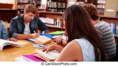 Students working together in the library with girl smiling...