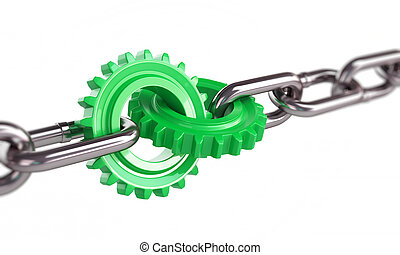 green gears chain links on a white background