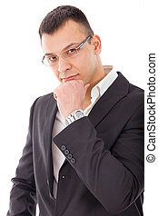 seductive businessman posing in deep thoughts