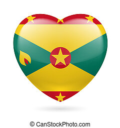 Heart icon of Grenada - I love Grenada. Heart with flag...