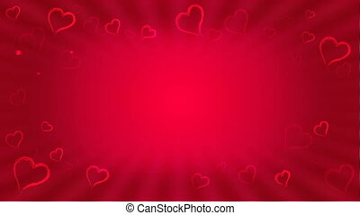 Loopable love animation, hearts on red background with copy...