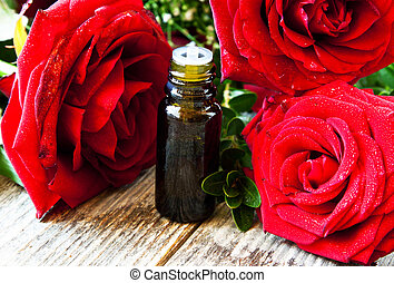 Roses Essential Oil Bottle - Red Roses Essence, Aromatherapy...
