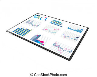 technology tablet with performance data and graphs on