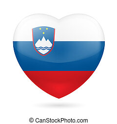Heart icon of Slovenia - Heart with Slovenian flag colors I...