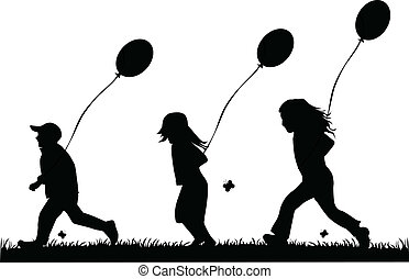 children running with balloons - vector