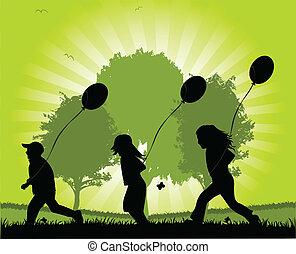 children running with balloons - vector