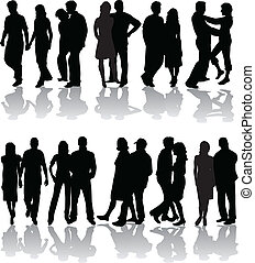 Silhouettes of group, vector work