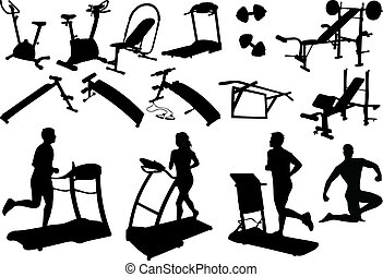 gym equipment, made in the image vectors