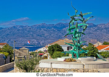 Town of Razanac with Velebit background, Dalmatia, Croatia