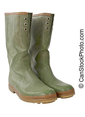 Galoshes slant with clipping path - Isolated galoshes pair...