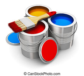 Cans with color paint and paintbrush - Metal tin cans with...