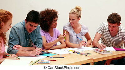 Students working together on an assignment at the university