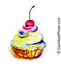 Original watercolor illustration of cake