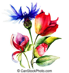 Original Spring flowers, watercolor illustration