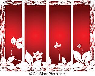 red background with leaves