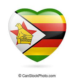 Heart icon of Zimbabwe - Heart with Zimbabwean flag colors....