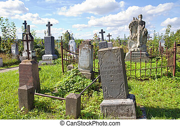 Old graves at cemetery in Grondo, Belarus - GRODNO, BELARUS...
