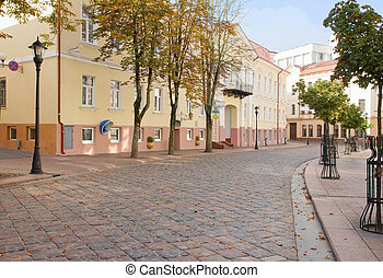 Old small street in Grodno, Belarus - An old town in a city,...
