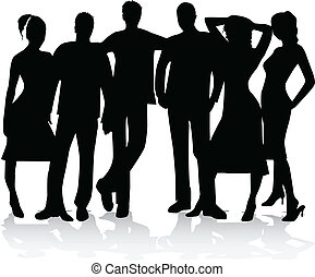group of best friends - silhouette vector