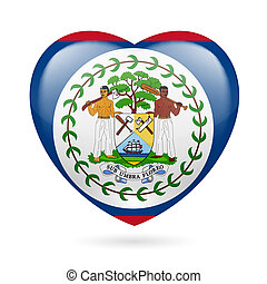 Heart icon of Belize - Heart with Belizean flag colors I...