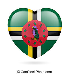 Heart icon of Dominica - Heart with Dominican flag colors. I...