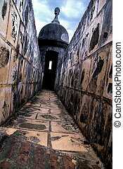 Turret Walkway, Puerto Rico - Detailed, old stone walkway...