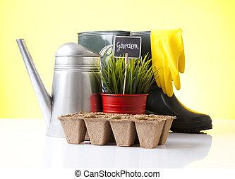 花盆, 工具, 花園, 靴子