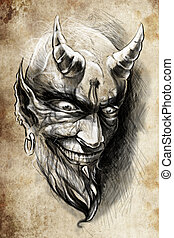 tattoo devil hell, illustration, handmade draw over vintage...