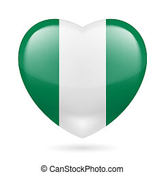 Heart icon of Nigeria - Heart with Nigerian flag colors I...
