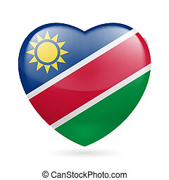 Heart icon of Namibia - Heart with Namibian flag colors. I...