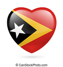 Heart icon of East Timor - I love East Timor Heart with flag...