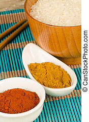 Asian cuisine staples - Rice and basic spices, an Asian...