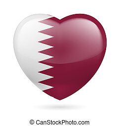 Heart icon of Qatar - Heart with Qatari flag colors I love...