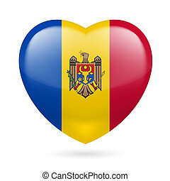Heart icon of Moldova - Heart with Moldovan flag design. I...
