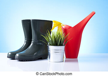 花盆, 靴子, 工具, 花園