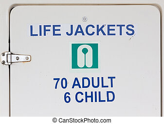 Life Jackets Sign on Closet Door - A Life Jackets Sign on a...