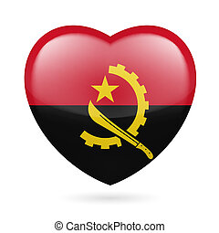 Heart icon of Angola - Heart with Angolan flag design. I...