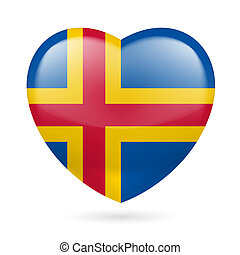 Heart icon of Aland Islands - I love Aland Islands Heart...