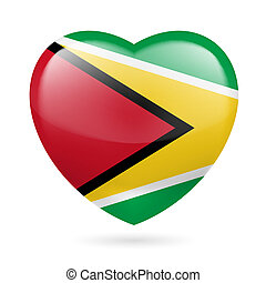 Heart icon of Guyana - Heart with Guyanese flag colors I...