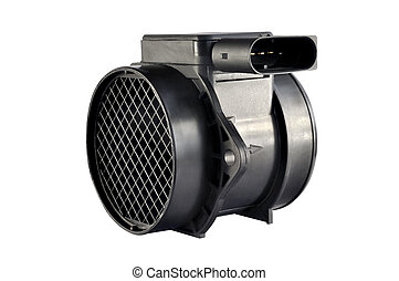 Air flow sensor automobile engine on a white background
