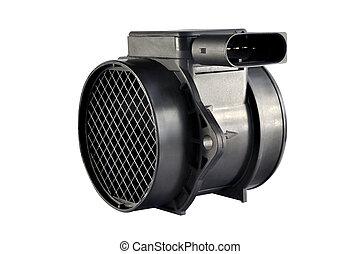 Air flow sensor automobile engine on a white background