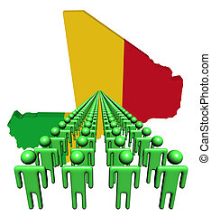 Lines of people with Mali map flag illustration