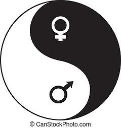 Yin-Yang symbol - Yin-Yan (YIN-YANG) symbol combined with...