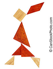 tangram walking girl figure - abstract figure of a walking...