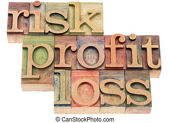 risk, profit, loss words in wood type - risk, profit, loss -...
