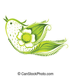 green bird of with flowers and leaves tea - hand drawn...