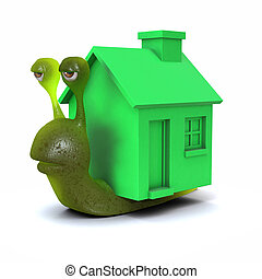 3d Mobile home snail - 3d render of a snail with a green...