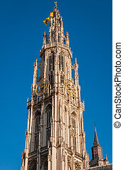 Details of asymmetric tower Cathedral Of Our Lady in Antwerp...